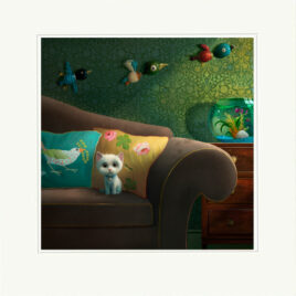 The Goldfish, by Stephen Hanson, Cat on couch